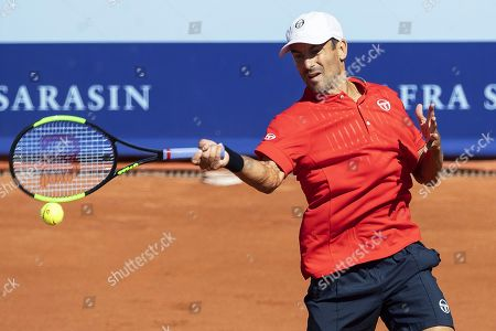 Stock Picture of Tommy Robredo of Spain in action against Gian Marco Moroni of Italy during their first round match of the Swiss Open tennis tournament in Gstaad, Switzerland, 23 July 2019.