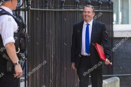 Secretary of State for International Trade Liam Fox arrives on Downing Street for the final Cabinet meeting