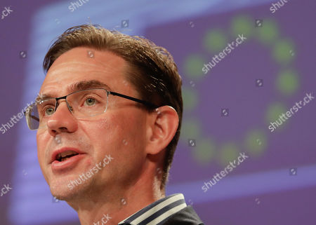 Finnish Jyrki Katainen, European Commissioner for Jobs, Growth, Investment and Competitiveness, speaks during a press conference on protecting and restoring the world's forests at the European Commission in Brussels, Belgium, 23 July 2019.