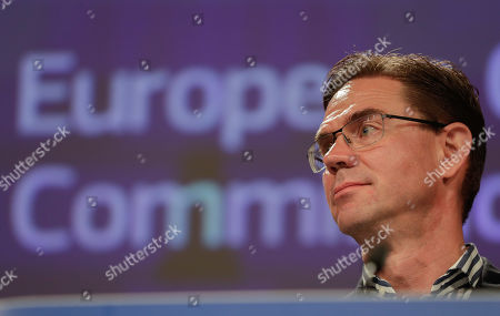 Stock Photo of Finnish Jyrki Katainen, European Commissioner for Jobs, Growth, Investment and Competitiveness, speaks during a press conference on protecting and restoring the world's forests at the European Commission in Brussels, Belgium, 23 July 2019.