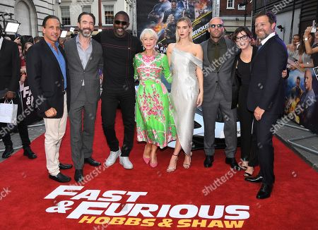 Steven Chasman, Chris Morgan, Idris Elba, Helen Mirren, Vanessa Kirby, Jason Statham, Kelly McCormick and David Leitch attends the Fast & Furious: Hobbs & Shaw Special Screening in London