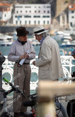 Stock Picture of Woody Allen (L) talks with Italian cinematographer Vittorio Storaro (R) at the set of his new movie, in San Sebastian, Spain, 23 July 2019. Allen is shooting his new movie in San Sebastian from 10 July to 23 August.