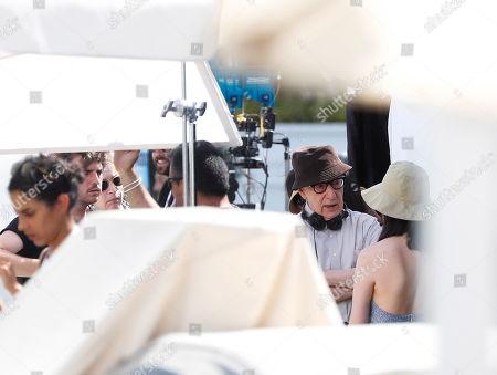 Woody Allen (2-R) at the set of his new movie, in San Sebastian, Spain, 23 July 2019. Allen is shooting his new movie in San Sebastian from 10 July to 23 August.