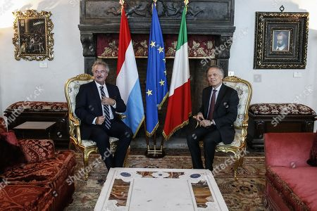 Italian Foreign Minister Enzo Moavero Milanesi (R) and Luxembourg Foreign Minister Jean Asselborn (L), during a bilateral meeting at Villa Madama, in Rome, Italy, 23 July 2019.