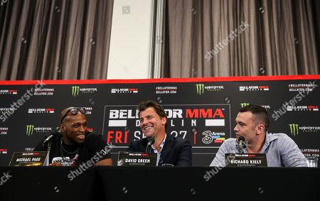 Michael 'Venom' Page, Head of Bellator Europe David Green and Richard Kiely