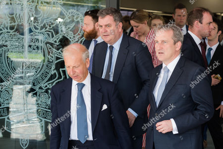 Lord President of the Council and Leader of the House of Commons Mel Stride (CL) and Secretary of State for Education Damian Hinds (CR) leave the Queen Elizabeth II conference centre in Westminster following announcement of the result of the Conservative Party leadership contest.