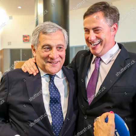 Antonio Tajani and David McAllister at CULT committee meeting at the European Parliament