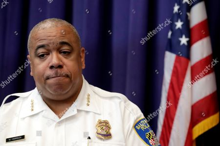 Baltimore Police Commissioner Michael Harrison speaks during a news conference making public portions of footage from the body camera worn by Sgt. Billy Shiflett, who was shot while responding to an active shooter call at Baltimore addiction clinic, in Baltimore. Shiflett was wearing a bulletproof vest but a bullet shot by a man demanding methadone struck his lower abdomen on July 15. The officer was released from the hospital over the weekend