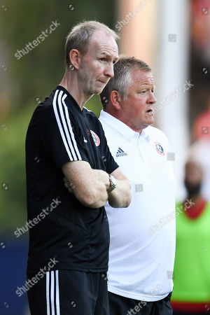 Stock Photo of Chris Wilder Manager of Sheffield United and assistant Alan Knill.
