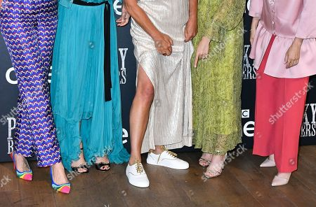 Natasha O'Keeffe, Helen McCrory, Caryn Mandabach, Sophie Rundle and Charlene McKenna, Shoe detail