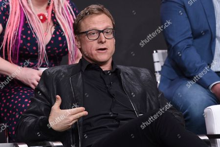 "Stock Photo of Alan Tudyk speaks in the ""Harley Quinn"" panel during the Television Critics Association Summer Press Tour, in Beverly Hills, Calif"