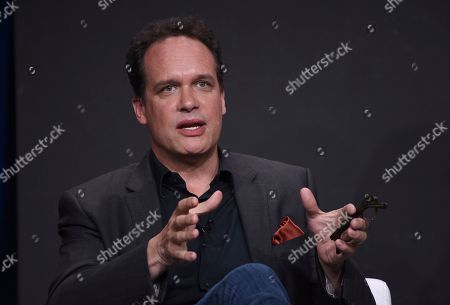 """Diedrich Bader speaks in the """"Harley Quinn"""" panel during the Television Critics Association Summer Press Tour, in Beverly Hills, Calif"""