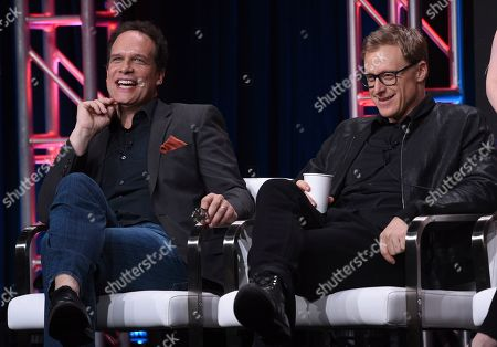 """Diedrich Bader, Alan Tudyk. Diedrich Bader, left, and Alan Tudyk participate in the """"Harley Quinn"""" panel during the Television Critics Association Summer Press Tour, in Beverly Hills, Calif"""