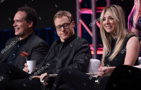 "Stock Image of Diedrich Bader, Alan Tudyk, Kaley Cuoco. Diedrich Bader, from left, Alan Tudyk and Kaley Cuoco participate in the ""Harley Quinn"" panel during the Television Critics Association Summer Press Tour, in Beverly Hills, Calif"