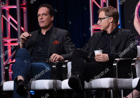 "Diedrich Bader, Alan Tudyk. Diedrich Bader, left, and Alan Tudyk participate in the ""Harley Quinn"" panel during the Television Critics Association Summer Press Tour, in Beverly Hills, Calif"