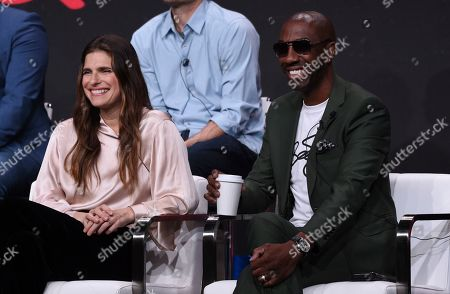 """Lake Bell, J.B. Smoove. Lake Bell, left, and J.B. Smoove participate in the """"Harley Quinn"""" panel during the Television Critics Association Summer Press Tour, in Beverly Hills, Calif"""