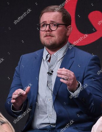 """Patrick Schumacker participates in the """"Harley Quinn"""" panel during the Television Critics Association Summer Press Tour, in Beverly Hills, Calif"""