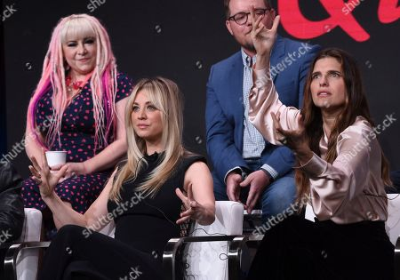 """Jennifer Coyle, Patrick Schumacker, Kaley Cuoco, Lake Bell. Supervising producer Jennifer Coyle, from back row left, executive producer Patrick Schumacker and from front row left, Kaley Cuoco and Lake Bell participate in the """"Harley Quinn"""" panel during the Television Critics Association Summer Press Tour, in Beverly Hills, Calif"""
