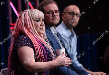 "Stock Image of Jennifer Coyle, Patrick Schumacker. Supervising producer Jennifer Coyle, from left, and executive producers Patrick Schumacker and Justin Halpern participate in the ""Harley Quinn"" panel during the Television Critics Association Summer Press Tour, in Beverly Hills, Calif"