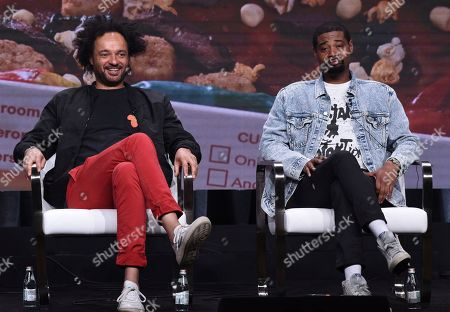 """Derrick Beckles, Danny Brown. Host/executive producer Derrick Beckles, left, and executive producer Danny Brown participate in Viceland's """"Danny's House"""" panel at the Television Critics Association Summer Press Tour, in Beverly Hills, Calif"""
