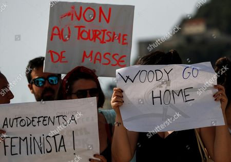 Editorial picture of Dozens of people protest against Woody Allen in San Sebastian, Spain - 23 Jul 2019
