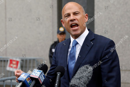 Michael Avenatti makes a statement to the press as he leaves federal court, in New York,. Avenatti faces charges accusing him of cheating porn star Stormy Daniels out of $300,000 in a book deal