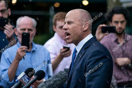 California attorney Michael Avenatti makes a statement as he leaves a courthouse in New York, as he faces charges accusing him of cheating porn star Stormy Daniels out of $300,000 in a book deal
