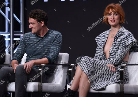 "Gabriel Ebert, Breeda Wool. Gabriel Ebert, left, and Breeda Wool participate in AT&T Audience's ""Mr. Mercedes"" panel at the Television Critics Association Summer Press Tour, in Beverly Hills, Calif"