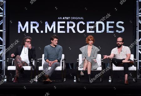 "Jack Bender, Gabriel Ebert, Breeda Wool, Brett Gelman. Director/producer Jack Bender, from left, Gabriel Ebert, Breeda Wool and Brett Gelman participate in AT&T Audience's ""Mr. Mercedes"" panel at the Television Critics Association Summer Press Tour, in Beverly Hills, Calif"