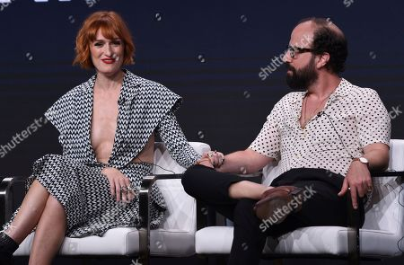 "Breeda Wool, Brett Gelman. Breeda Wool, left, and Brett Gelman participate in AT&T Audience's ""Mr. Mercedes"" panel at the Television Critics Association Summer Press Tour, in Beverly Hills, Calif"