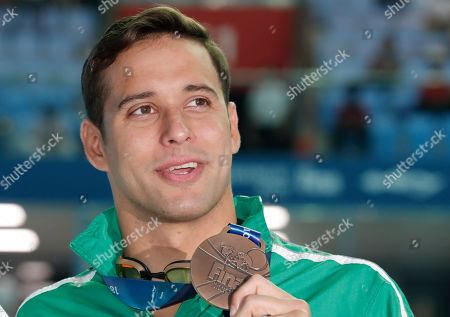 Bronze medalist South Africa's Chad le Clos poses with his medal following the men's 200m butterfly final at the World Swimming Championships in Gwangju, South Korea