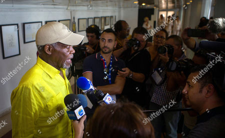 The US Actor Danny Glover (L) speaks with the media during the fifteenth graduation of the Latin American School of Medicine, at the Karl Marx Theater in Havana, Cuba, 23 July 2019. Approximately 500 medical students from 84 countries graduated from the school in Havana during a ceremony on 23 July.