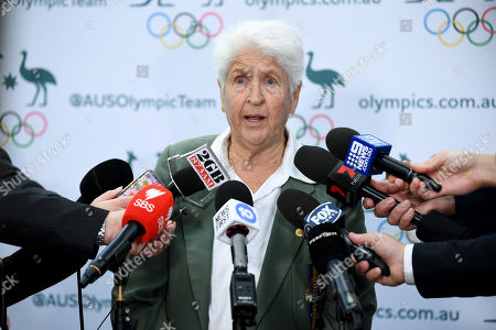 Former Olympic swimmer Dawn Fraser speaks to the media during the One Year to Go to Tokyo 2020 Olympic Games Media Event at the Qantas Headquarters in Sydney, Australia, 24 July 2019.