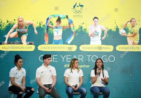 Australian athletes (L-R) Chloe Esposito, Rohan Browning, Sally Pearson and Evania Pelite attend the One Year to Go to Tokyo 2020 Olympic Games Media Event at the Qantas Headquarters in Sydney, Australia, 24 July 2019.