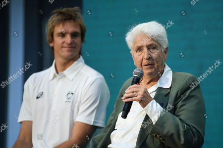 Surfer Ryan Callinan (L) and former Olympic swimmer Dawn Fraser (R) speak on stage during the One Year to Go to Tokyo 2020 Olympic Games Media Event at the Qantas Headquarters in Sydney, Australia, 24 July 2019.