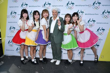 Former Olympic swimmer Dawn Fraser (C) poses for a photo with J-pop performers during the One Year to Go to Tokyo 2020 Olympic Games Media Event at the Qantas Headquarters in Sydney, Australia, 24 July 2019.