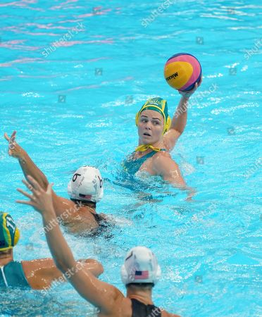 Rowie Webster of Australia (R) in action against Margaret Steffens of the USA (L) during the women's water polo Semi Final match between the USA and Australia during the FINA Swimming World Championships 2019 in Gwangju, South Korea, 24 July 2019.
