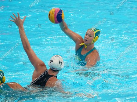 Stock Picture of Rowie Webster of Australia (R) in action against Paige Hauschild of the USA (L) during the women's water polo Semi Final match between the USA and Australia during the FINA Swimming World Championships 2019 in Gwangju, South Korea, 24 July 2019.