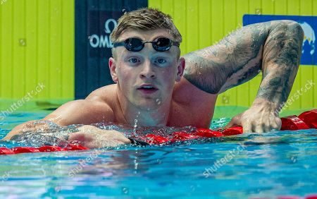 Adam Peaty of Great Britain on his way out after winning in the men's 50m Breaststroke Final during the Swimming events at the Gwangju 2019 FINA World Championships, Gwangju, South Korea, 24 July 2019.