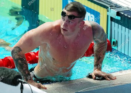 Adam Peaty of Great Britain gets out of the pool after winning the men's 50m Breaststroke final of the swimming competitions at the Gwangju 2019 Fina World Championships, Gwangju, South Korea, 24 July 2019.