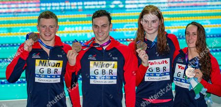 (from L) Bronze medalists Adam Peaty, James Guy, Freya Anderson and Georgia Davies of Great Britain pose with their medals for the Mixed 4x100m Medley Relay final of the swimming competitions at the Gwangju 2019 Fina World Championships, Gwangju, South Korea, 24 July 2019.