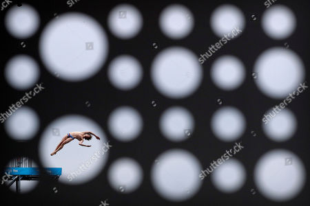 Stock Image of Gold medalist Gary Hunt of Britain dives during the men's high diving competition at the World Swimming Championships in Gwangju, South Korea