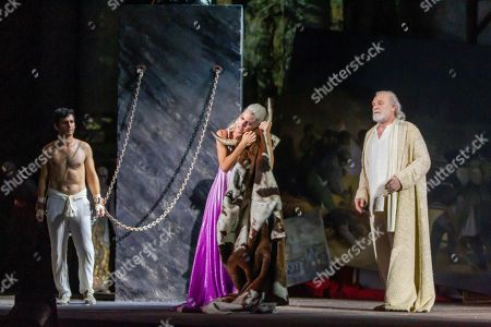 Spanish actors Lluis Homar (R), Fran Perea (L) and actress Amaia Salamanca perform the play 'Prometheus' as part of International Classic Theater Festival in Merida, western Spain, late 23 July 2019 (issued 24 July 2019). The Merida International Classic Theater Festival runs from 27 June to 25 August 2019.