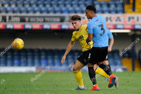 Nathan Ralph of Southend United and Danny McNamara of Millwall in action during the pre season friendly between Southend United and Millwall at Roots Hall in Southend, UK. 24th July 2019