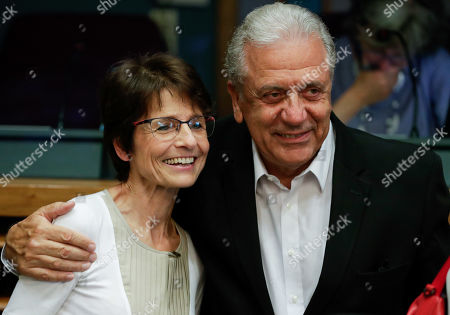 European Commissioner for Employment, Social Affairs, Skills and Labour Mobility Marianne Thyssen (L) and European Commissioner for Migration and Home Affairs, Dimitris Avramopoulos at the start of a weekly college meeting at the EU headquarters in Brussels, Belgium, 24 July 2019.