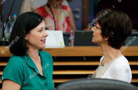 European Commissioner for Justice, Consumers and Gender Equality, Vera Jourova (L) and European Commissioner for Employment, Social Affairs, Skills and Labour Mobility, Marianne Thyssen at the start of a weekly college meeting at the EU headquarters in Brussels, Belgium, 24 July 2019.