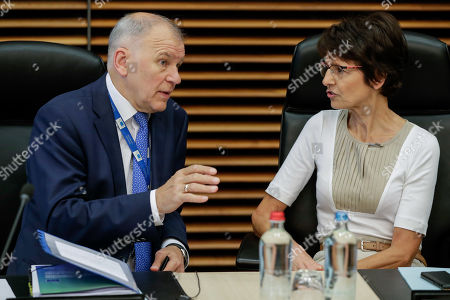 EU Commissioner for Health and Food safety Vytenis Andriukaitis (L) and European Commissioner for Employment, Social Affairs, Skills and Labour Mobility Marianne Thyssen at the start of a weekly college meeting at the EU headquarters in Brussels, Belgium, 24 July 2019.
