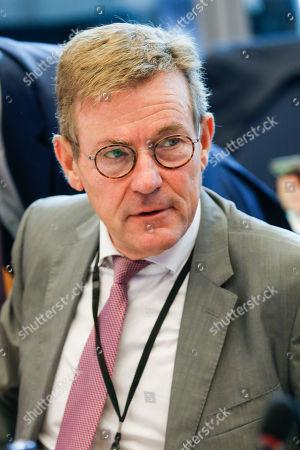 Johan Van Overtveldt - Budget committee meeting at the European Parliament in Brussels.