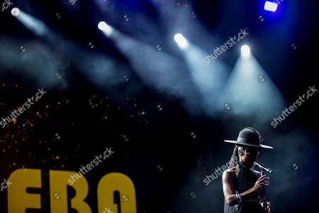 Stock Photo of A British singer and songwriter, Skye Edwards of Morcheeba Band performs live on stage during a MEO Marés Vivas Festival in Porto.