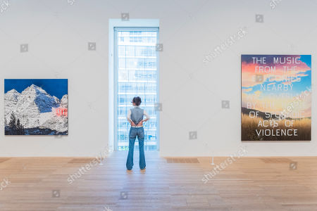 Stock Image of Me, 1999, and The Music From the Balconies, 1984 - Artist Rooms: Ed Ruscha at Tate Modern. The latest in the series of annual free displays in the dedicated Artist Rooms gallery in Tate Modern's Blavatnik building. It opens to the public on 26 July 2019 and will run until Spring 2020.